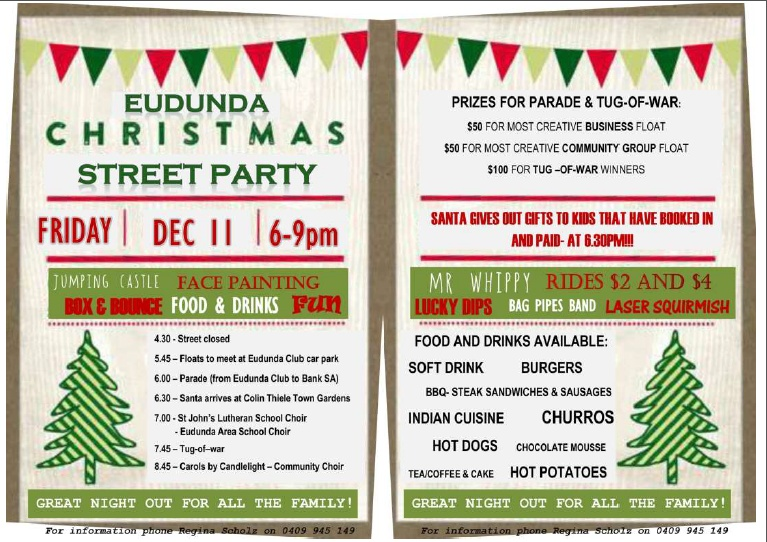 Eudunda Christmas Street Party Flier 2015