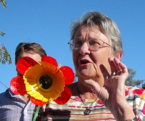 Margaret Doecke shows off Flower made of Plastic