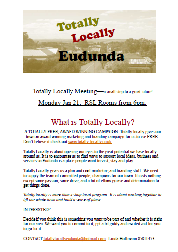 Meeting Jan 21 of 2013 for Totally Locally Eudunda