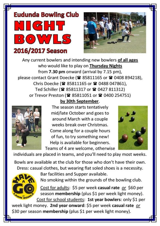 Register for Night Bowls 2016-2017 by 30th Sept