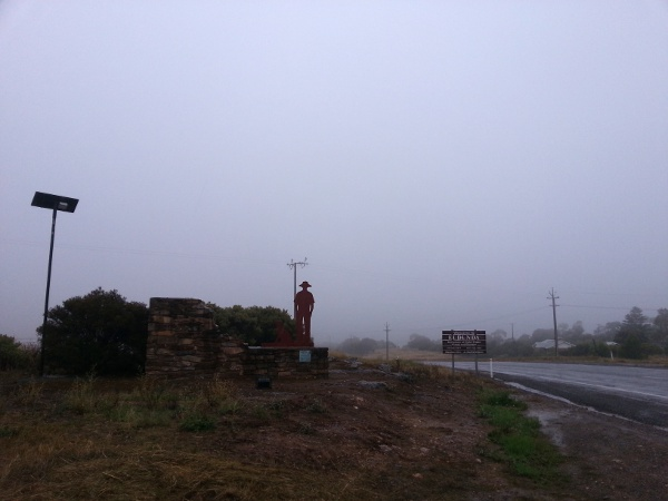Eudunda - Gustav & Dog Entrance with late evening fog & rain after floods