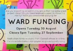 RCOG Ward Funding 30th Aug - 27th Sept 2016