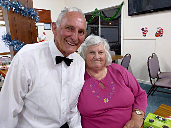 Colin and Mary Menz at the Eudunda Bowling Club Christmas dinner