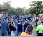 Part of the Croud watching Children Receive Presents from Santa at the 2016 Eudunda Street Party