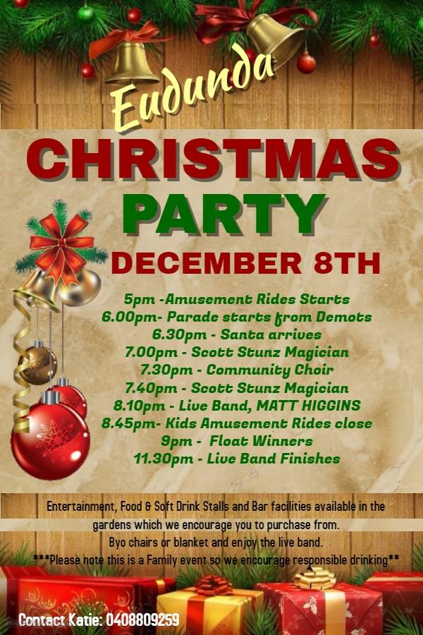 Eudunda Christmas Street Party - Timetable for 8th Dec 2017