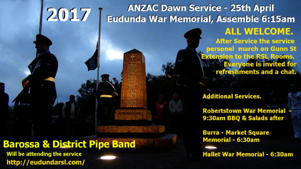 ANZAC Dawn Service Flier - Eudunda - Memorial & Cuppa 2017 Plus other service details