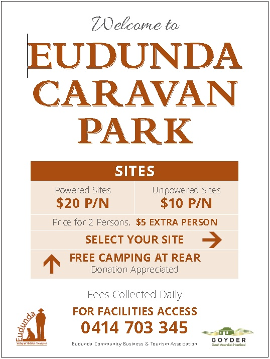 Welcome sign - Eudunda Caravan Park