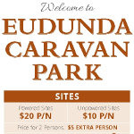 Welcome sign - Eudunda Caravan Park - Banner