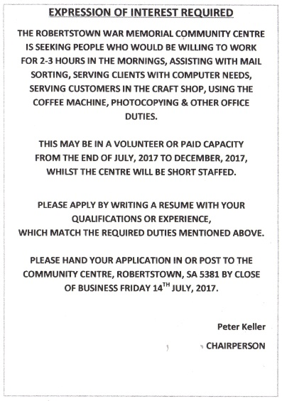 Expression of interest required eudunda your applications should be to them by the close of business friday 14th july 2017 altavistaventures Choice Image