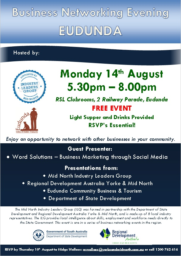 Business Networking Evening - Eudunda 14th Aug 2017 - Flier