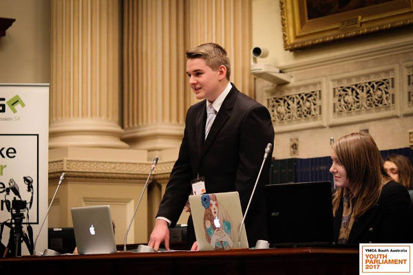 Samuel Doering Speaks in SA Youth Parliament