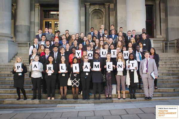 Youth Parliament on the Steps of Parliament House - Group Photo
