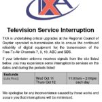 Television Service Interruption 11-12th Oct 2017