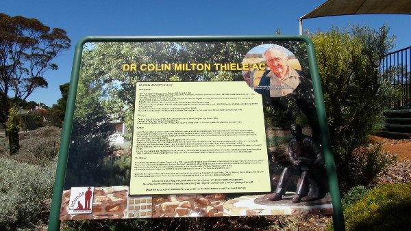 Colin Thiele Interpretive Sign in the Eudunda Gardens
