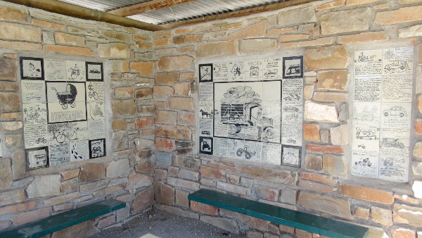 Eudunda Gardens - Shelter with some of the many Tiles on Centenary of Transport