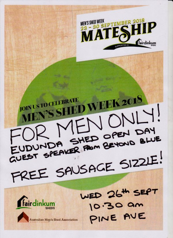 Mens Shed Week - Mateship Poster 26th Sept 2018