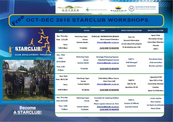 StarClub Edu Poster Workshops OCT-DEC 2018