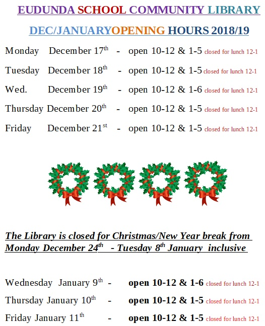 Eudunda Library - Christmas 2018 School Holiday Times - part 1