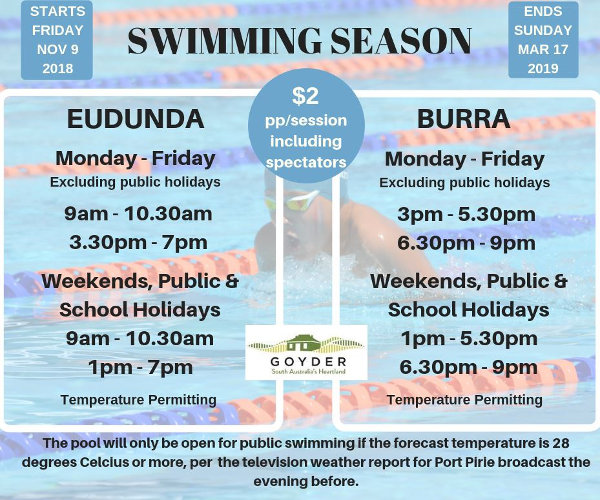 Swimming Season - Eudunda & Burra - Opens 9th Nov 2018