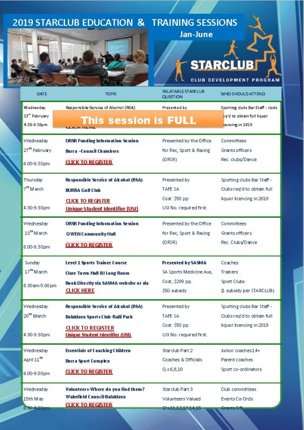 2019 starclub education & training sessions - Eudunda 6th Feb Program Information - UPDATE 12-02-19