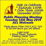 Planning Meeting to Celebrate Eudunda 150th in Nov 2020 – All Welcome – 14th May 2019