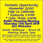 Planning Meeting to Celebrate Eudunda 150th in Nov 2020 - All Welcome - 11th April 2019