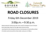 Warning - Road Closures for 6th Dec 2019