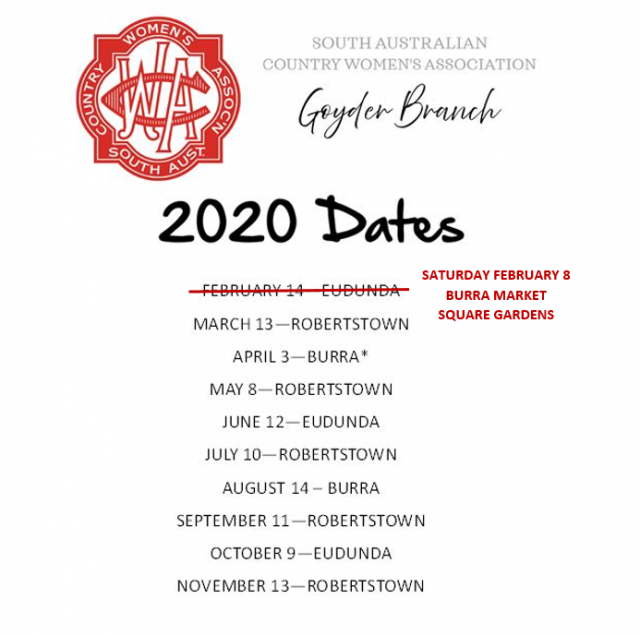 Goyder SACWA - 2020 Proposed Dates