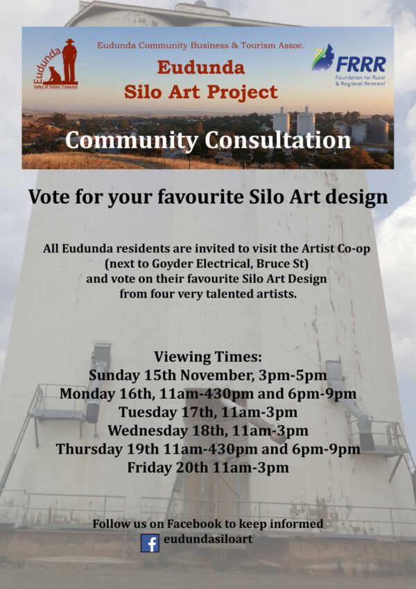 ECBAT Community Consultation - View Artist Concepts for Silo Art from 15th - 20th Nov 2020