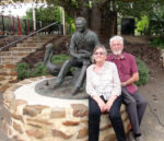Janne & Jeff Minge with the Colin Thiele Sculpture on Colins 100th Birthday Anniversary - Photo by Peter Herriman