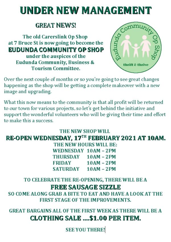 Great News - Come Celebrate Grand Opening of Eudunda Community Op Shop  - 17th Feb 2021
